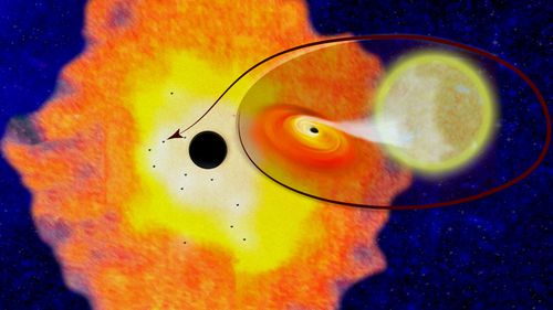 This illustration provided by Columbia University shows the supermassive black hole Sagittarius A, located at the center of the Milky Way Galaxy, surrounded by a cloud of dust and gas within which are 12 smaller black holes, and a closeup of one of the systems.(AP).