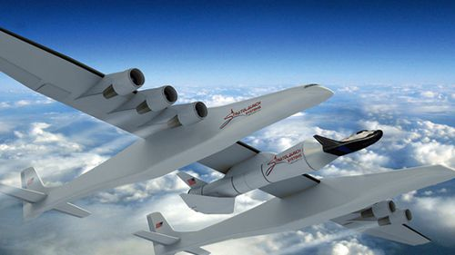 The Stratolaunch is designed to carry rockets into the skies before they launch into space. (Supplied).