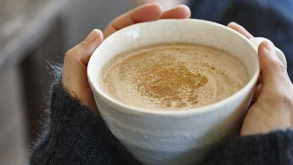 Sweet spiced cacao and warm macadamia milk drink