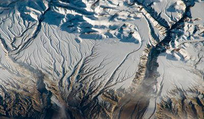 Snow on the Himalayas, near the China and India border. Image taken April 8.