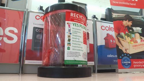 Northern Territory residents now have a way to recycle their soft plastic packaging, after Coles launched its REDcycling bins. Picture: 9NEWS.