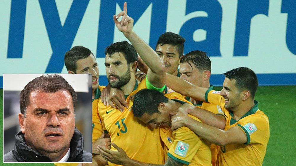 Socceroos captain Mile Jedinak celebrates a goal and (inset) Ange Postecoglou. (Getty and AAP)