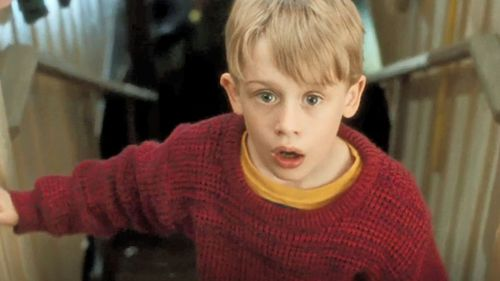 Screenshot of Macaulay Culkin in a scene from the 1990 film Home Alone.