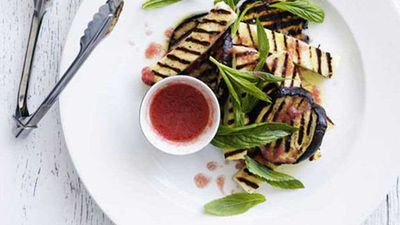 Grilled eggplant and haloumi with tomato vinaigrette