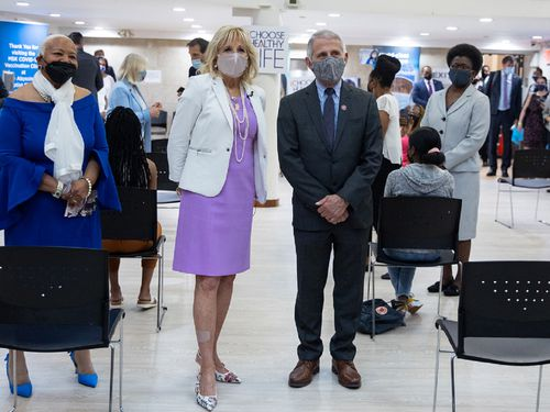 First Lady Dr. Jill Biden and Dr. Anthony Fauci, Director of the National Institute of Allergy and Infectious Diseases, speak with members of media at Abyssinian Baptist Church on June 6, 2021 in New York City. Abyssinian Baptist Church has been offering COVID-19 vaccines in Harlem, where the infection rate has been higher than the rest of the city but the vaccine rate is roughly only seven percent.