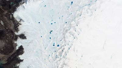 In spring, blue ponds speckle southwest Greenland as ice melts. The size and number of these ponds help track how much the ice sheet is melting each year.