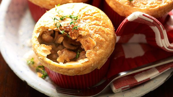 Individual chicken and mushroom pies