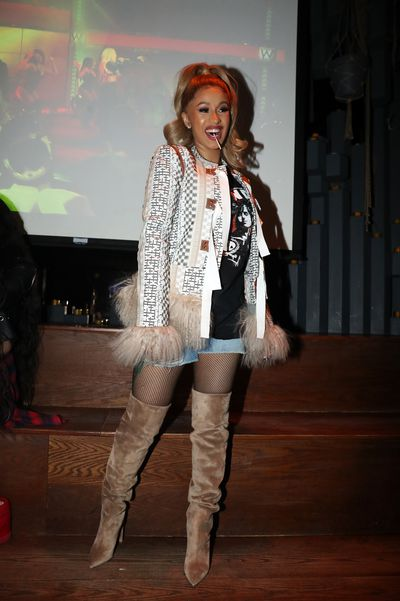 Cardi B at her Silent Listening Party in New York on April 5, 2018