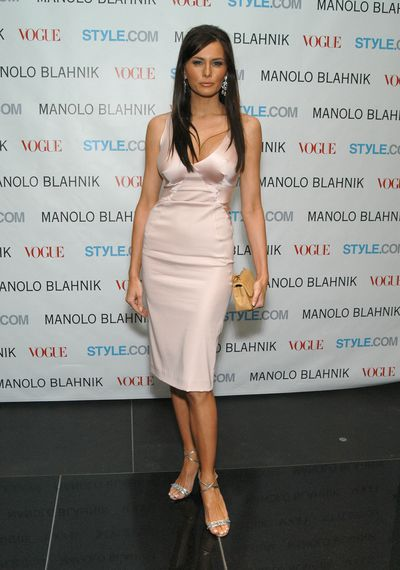 Melania at the launch Party for a Manolo Blahnik Exhibition hosted by US Vogue's Anna Wintour in 2005