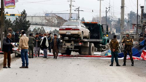 A car bomb exploded hear Australian Embassy vehicles in Kabul. (AAP)