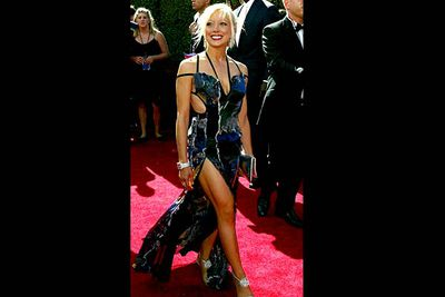 <b>Where she wore it:</b> The 56th Annual Primetime Emmy Awards, 2004.<br/><br/><b>The look:</b> In the mid-'00s, Courtney attempted to become one of those famous-for-being-famous types. It didn't really work, though she did her best to grab attention by wearing really hideous outfits everywhere.
