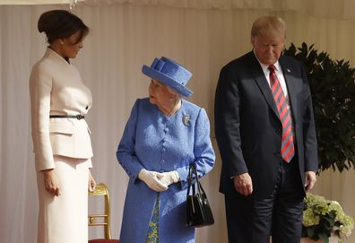 Britain's Queen Elizabeth II speaks to first lady Melania Trump, in July, 2018.