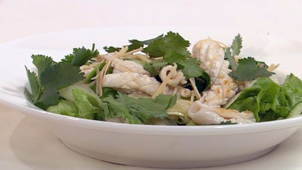 Calamari salad with tangy wasabi dressing
