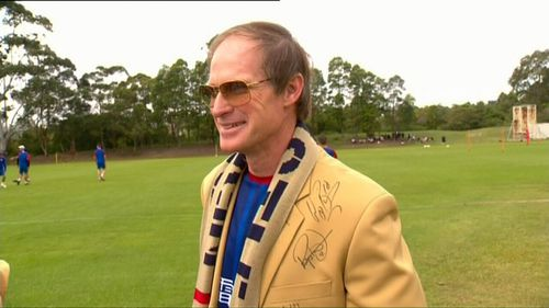 One of the devoted fans attending tomorrow's game will be former star captain Andy Roberts and his 'lucky' golden suit. Picture: 9NEWS.