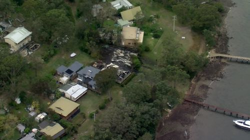 Homes destroyed on Hawkesbury River north of Sydney.