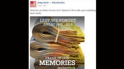 Facebook user Greg Harm suggests the real reason Woolies wanted things to be 'Fresh In Our Memories'