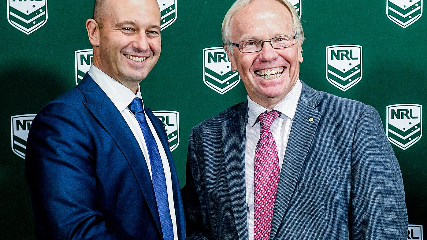 Todd Greenberg and Peter Beattie pose