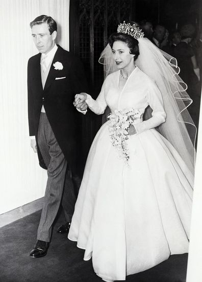 Princess Margaret and her new husband Antony Armstrong-Jones leave Westminister Abbey after their wedding.