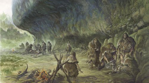 This artist's reconstruction shows a child's burial by Neanderthals at La Ferrassie in southwestern France.