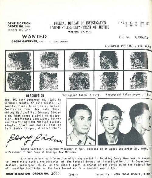 Georg Gaertner's Wanted poster was on the walls of post offices across America.
