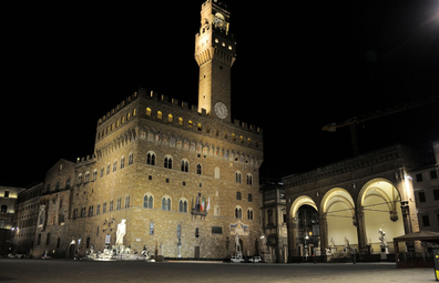 Signoria Square is seen empty on November 6, 2020 in Florence, Italy.