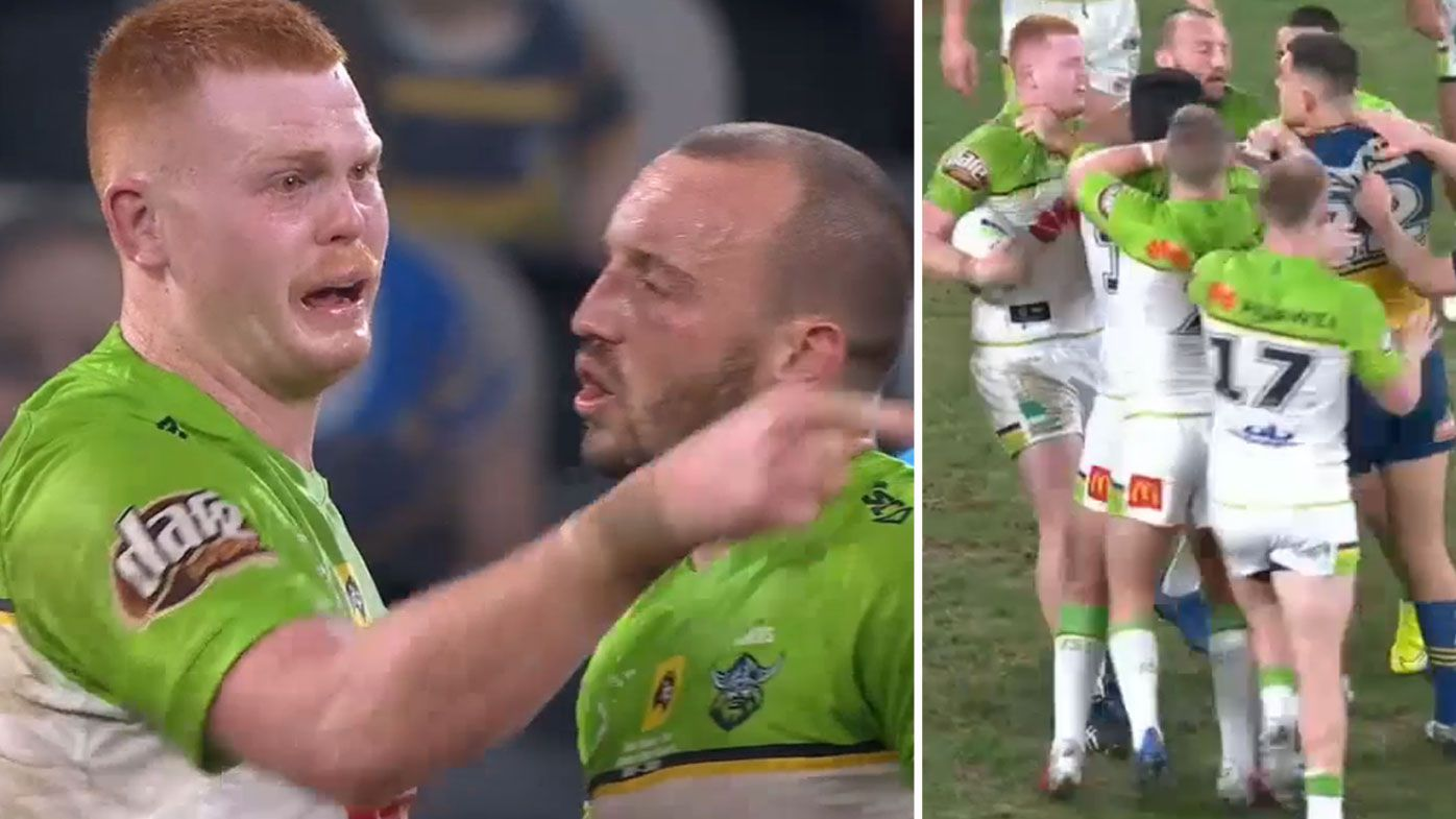 Raiders prop Corey Horsburgh was seen in tears after a melee blew up