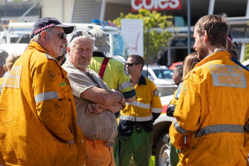 Rural firefighters are seen at the Peregian Springs Control (AAP Image/Rob Maccoll)