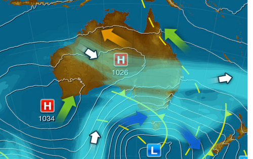 In Victoria, the cold front is embedding a strong westerly airflow that will pass over the state from Tasmania today.