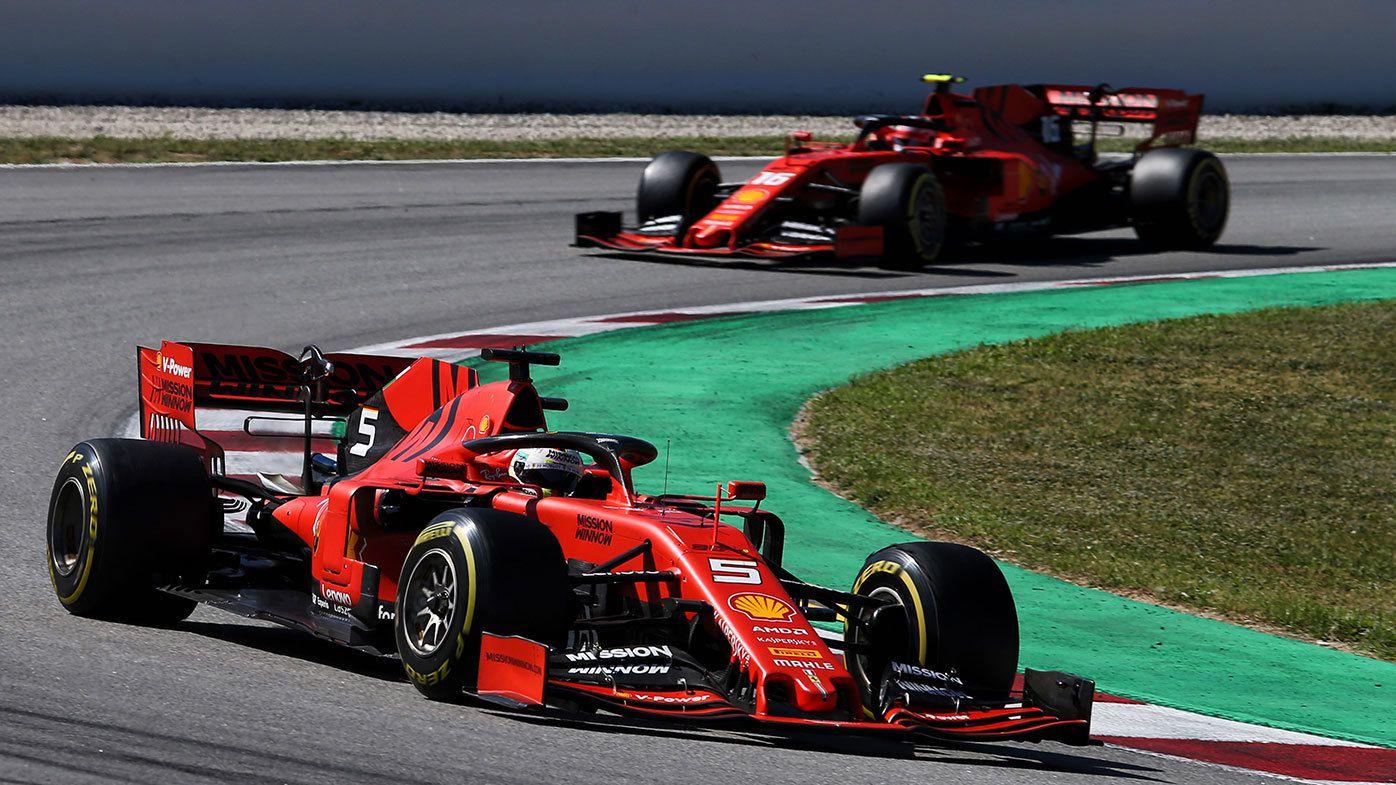 Sebastian  Vettel leads Charles Leclerc during the Spanish Grand Prix.