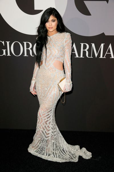 Kylie Jenner in Steven Khalilat the GQ and Giorgio Armani Grammys after party in Hollywood, February, 2015
