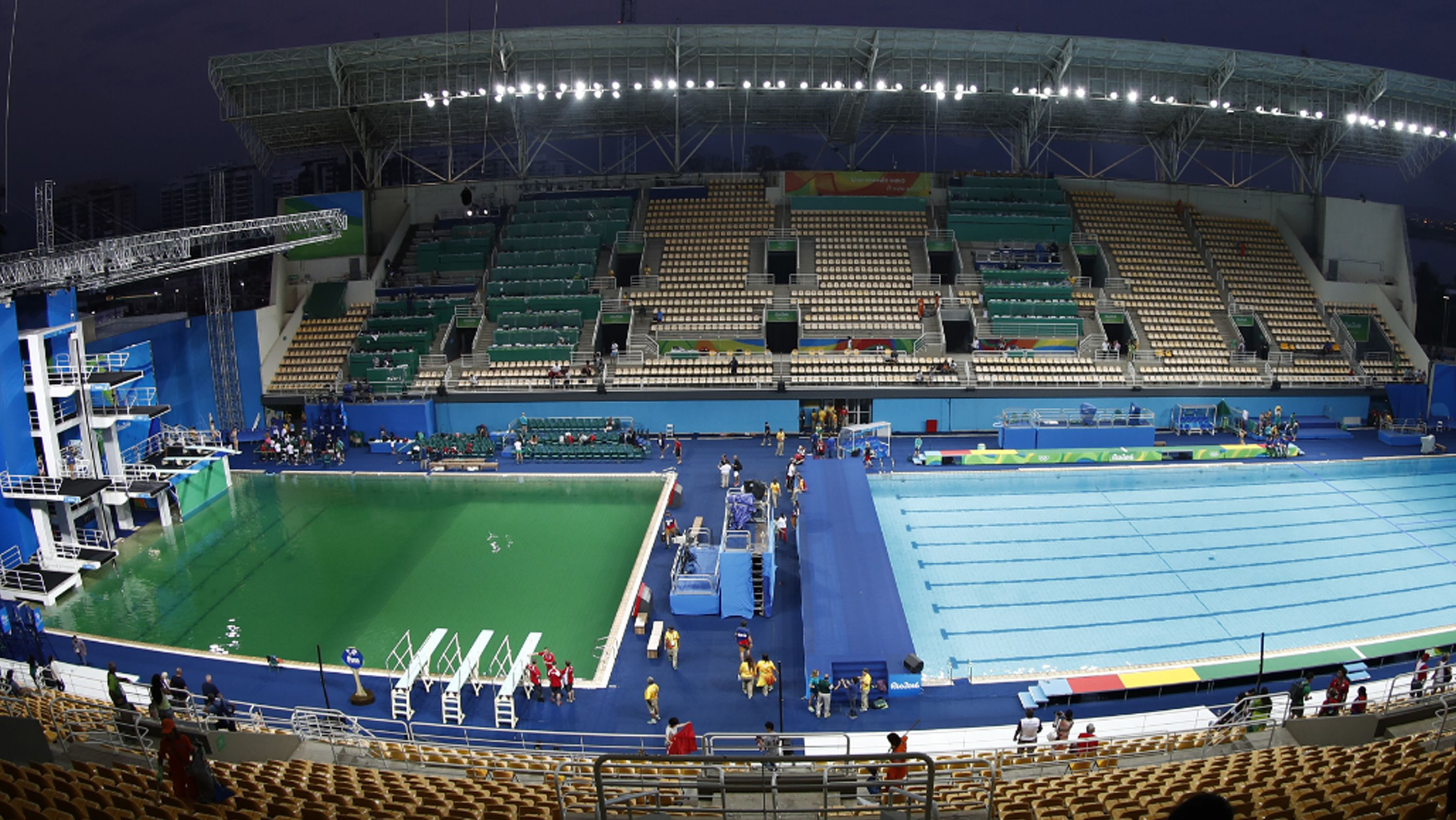 The green diving pool (left). (AFP)