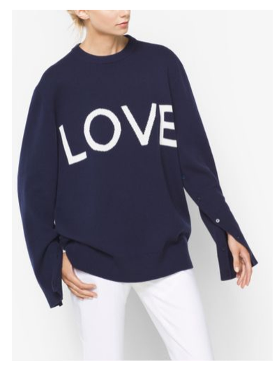 """<a href=""""http://www.michaelkors.com/love-intarsia-cashmere-oversized-pullover/_/R-US_663AKI908?No=-1&amp;color=1628&amp;isTrends=true"""" target=""""_blank"""">Michael Kors</a> Love Intarsia Cashmere Oversized Pullover. $1395"""