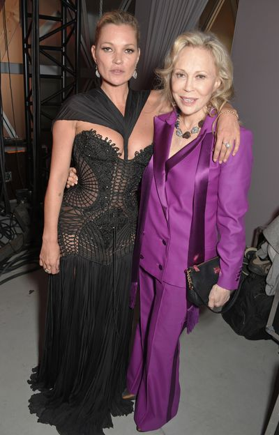 Kate Moss and Faye Dunawayat Fashion Relief, Cannes