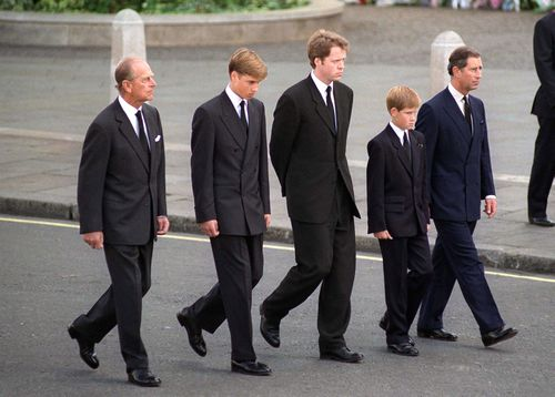 The Duke Of Edinburgh, Prince William, Earl Spencer, Prince Harry And The Prince Of Wales following the coffin of Diana, Princess of Wales.