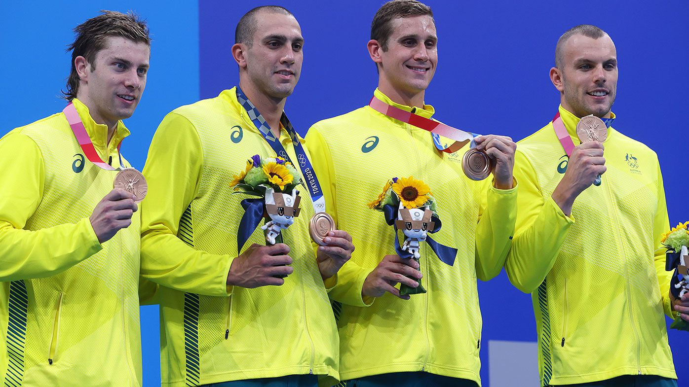 Matthew Temple, Zac Incerti, Alexander Graham and Kyle Chalmers of Team Australia pose with the bronze medal for the Men's 4 x 100m Freestyle Relay Final on day three of the Tokyo 2020 Olympic Games at Tokyo Aquatics Centre on July 26, 2021 in Tokyo, Japan. (Photo by Clive Rose/Getty Images)