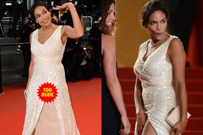 Flash! Rosario Dawson exposed her lady bits at the premiere for <i>As I Lay Dying</i>. Unlike many of her A-list alumni, the 34-year-old kept her modesty thanks to a pair of nude-coloured knickers.  <br/>