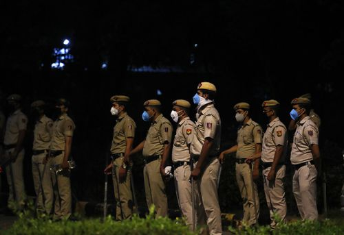Indian policemen were deployed anticipating protests outside the Chinese embassy in New Delhi earlier this month.