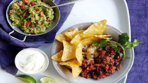 Spiced beef nachos