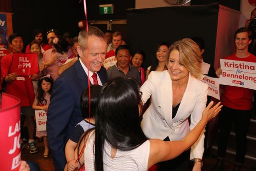 The pair greet campaigners at the campaign launch today. (AAP)
