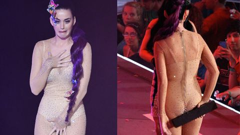 Dare to bare: Katy Perry reveals too much in nude bodysuit, and she knows it