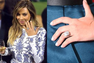 Kanye's 15-carat square-cut diamond ring for Kim is smaller than the rock she got from Kris, but just as impressive. Also designed by Lorraine Schwartz, the ring is worth $1.6 million. Kanye requested that the diamonds are sourced ethically... no blood diamonds for Kim!<br/><br/>Image: Instagram/Getty