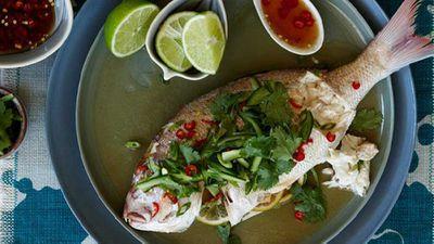 "Recipe:&nbsp;<a href=""http://kitchen.nine.com.au/2016/05/05/16/13/steamed-snapper-with-nahm-pla-prik"" target=""_top"">Steamed snapper with nahm pla prik</a>"