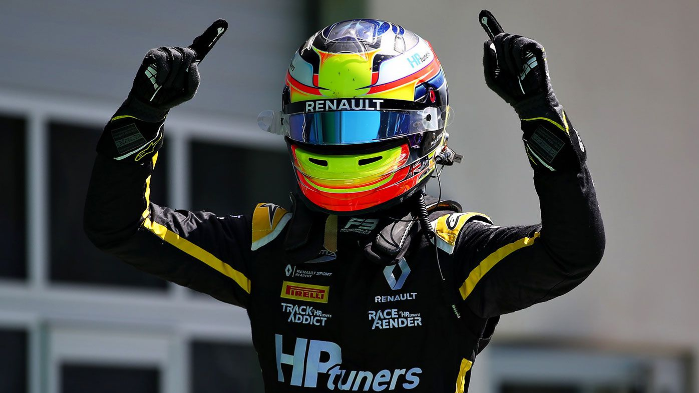 Oscar Piastri after winning his debut F3 race in Austria.