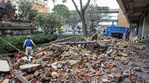Debris in Bali after the earthquake on Sunday. Picture: AAP