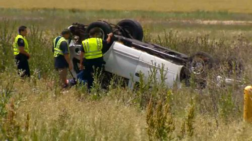Car flipped on US Highway that left one man dead and four others hospitalised. (Supplied: 9NEWS Colorado)