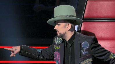 Boy George challenges Guy Sebastian during a heated pitch