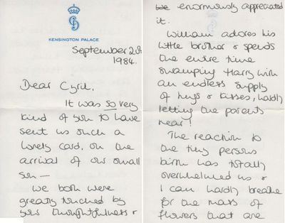 Diana's letter to Cyril Bickman, 1984