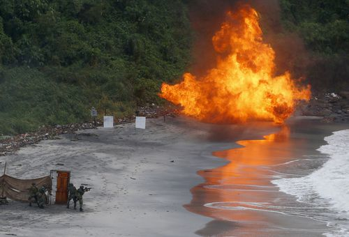 Philippine Marines detonate a target as they train with Australian Defence Forces.