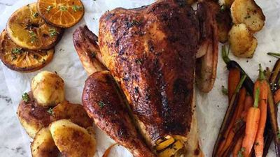 Will and Steve's roast turkey with duck fat potatoes and honeyed carrots