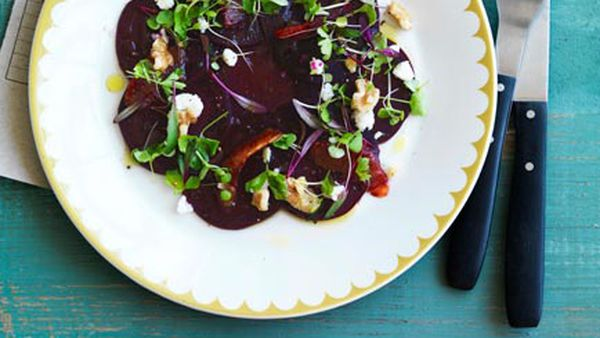 Carpaccio of beetroot, blood orange, feta and baby herbs
